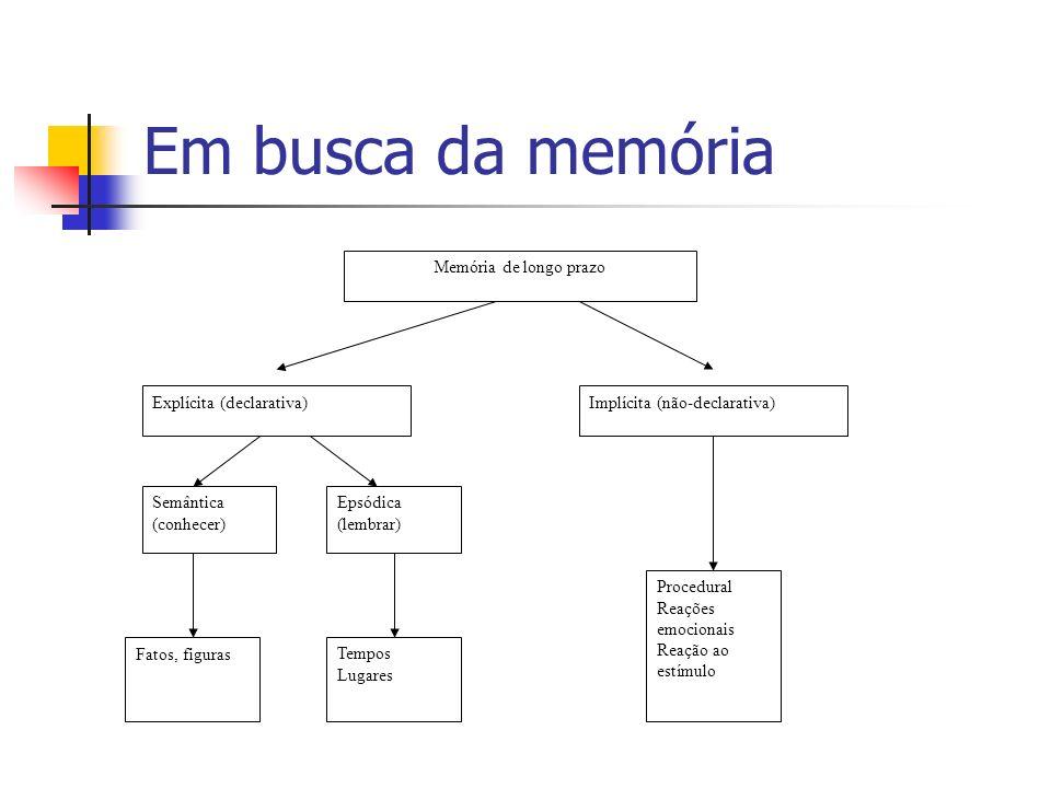 Em busca da memória Memória de longo prazo Explícita (declarativa)