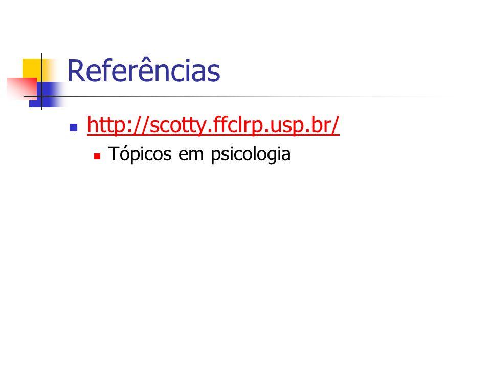 Referências http://scotty.ffclrp.usp.br/ Tópicos em psicologia