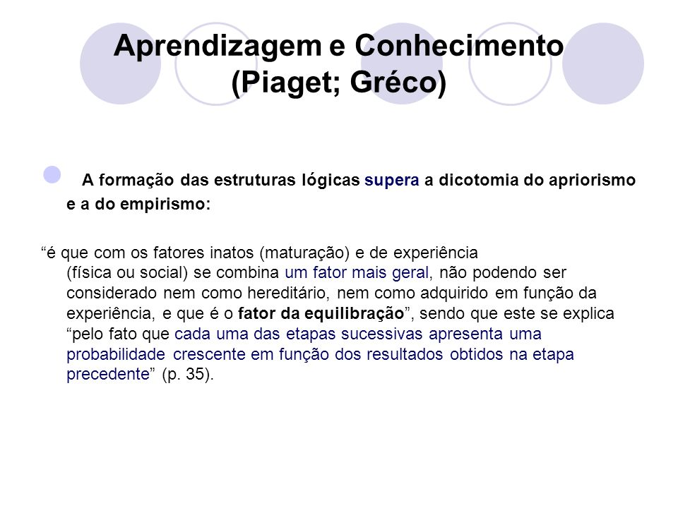 Aprendizagem e Conhecimento (Piaget; Gréco)