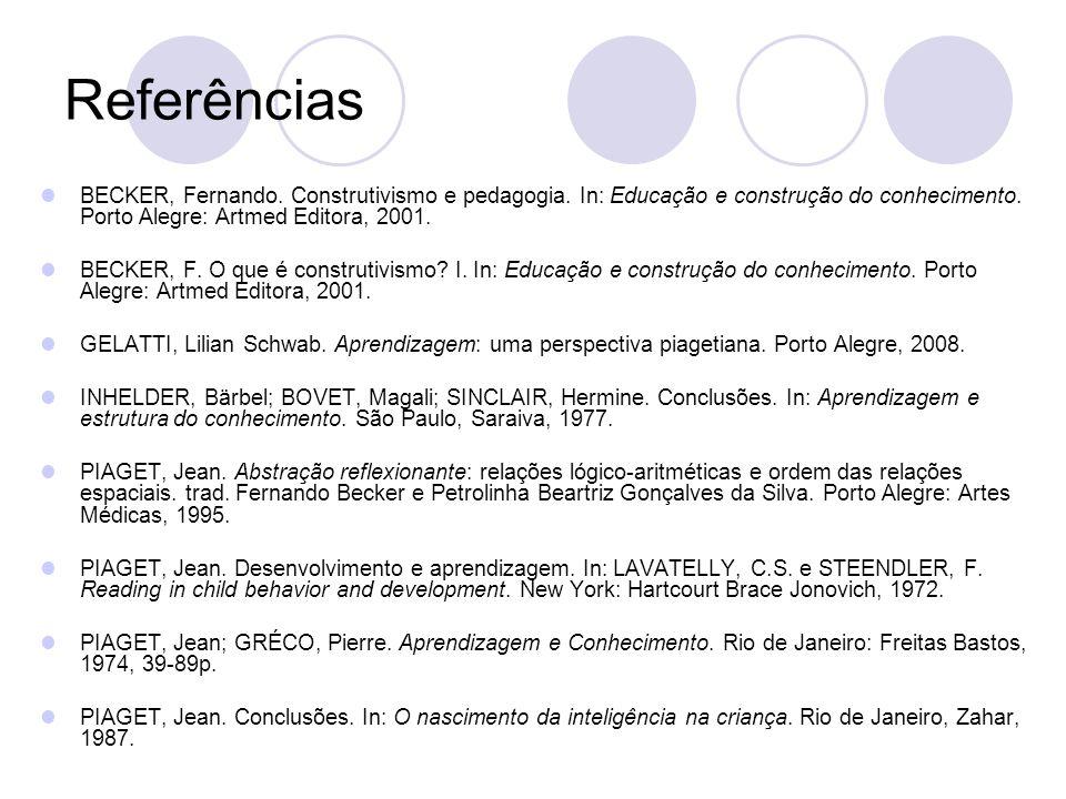 Referências BECKER, Fernando. Construtivismo e pedagogia. In: Educação e construção do conhecimento. Porto Alegre: Artmed Editora, 2001.