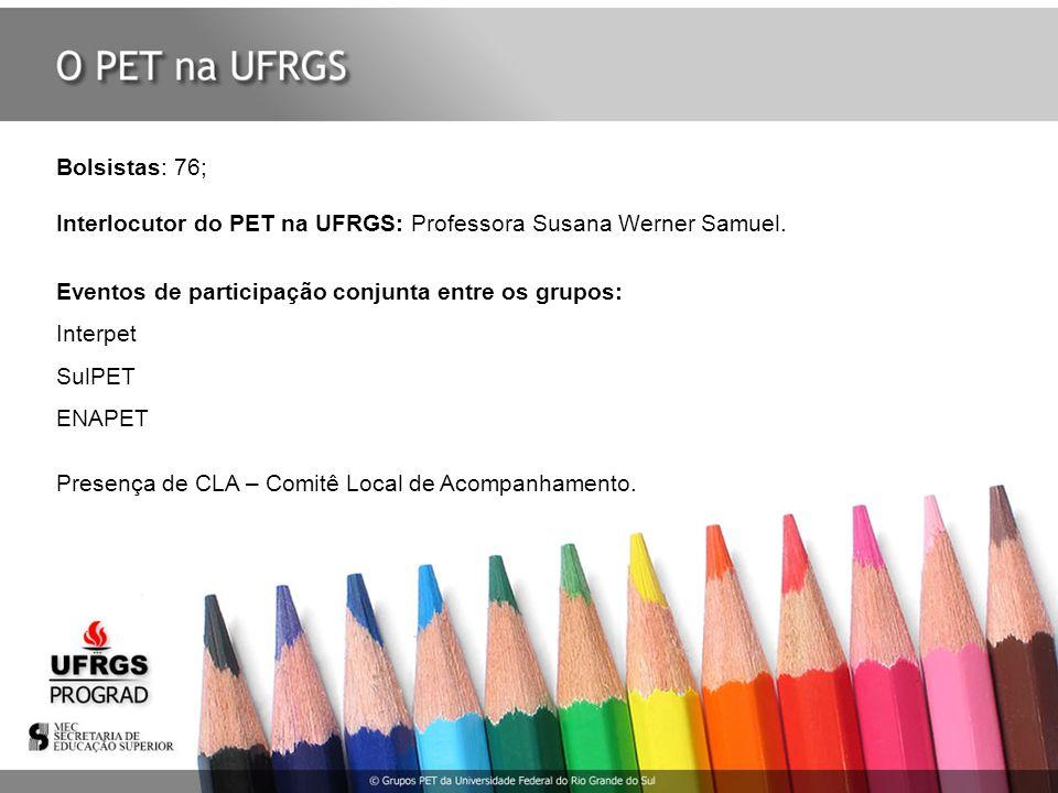 Bolsistas: 76; Interlocutor do PET na UFRGS: Professora Susana Werner Samuel. Eventos de participação conjunta entre os grupos: