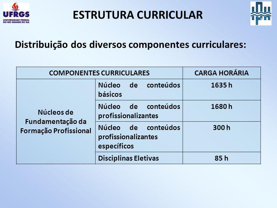 ESTRUTURA CURRICULAR Distribuição dos diversos componentes curriculares: COMPONENTES CURRICULARES.