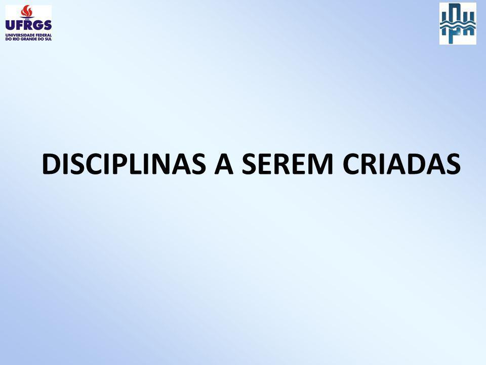 DISCIPLINAS A SEREM CRIADAS