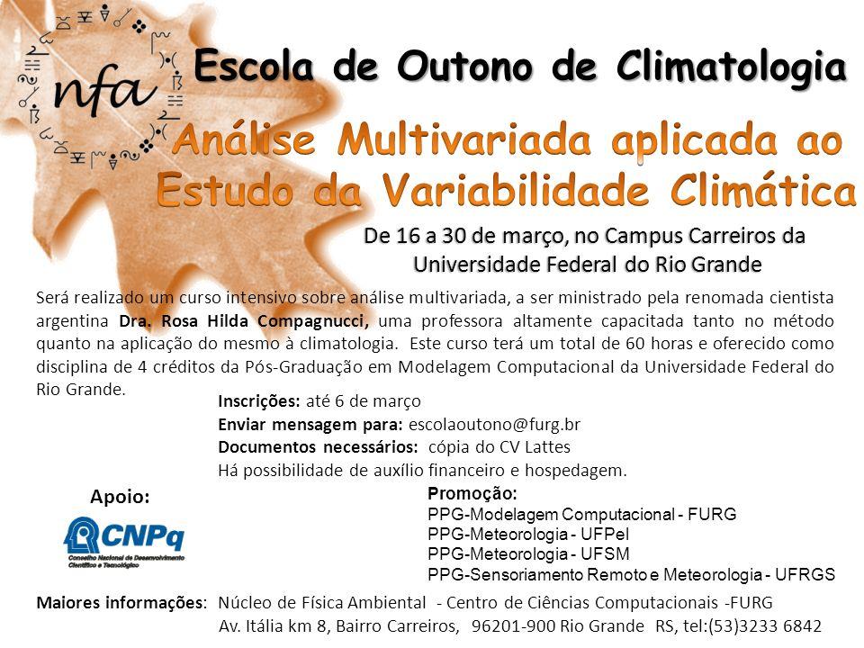 Análise Multivariada aplicada ao Estudo da Variabilidade Climática