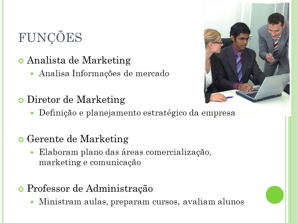 FUNÇÕES Analista de Marketing Diretor de Marketing