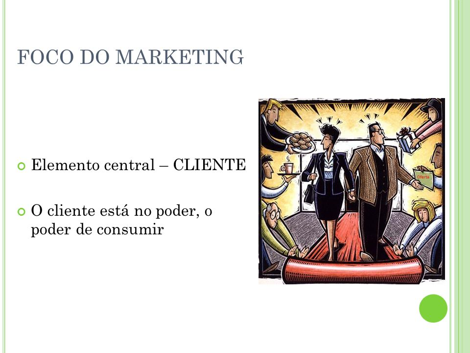 FOCO DO MARKETING Elemento central – CLIENTE