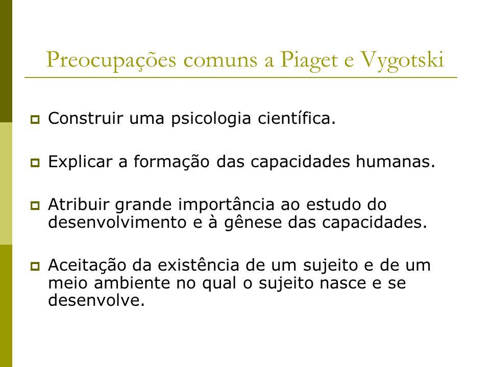 Preocupações comuns a Piaget e Vygotski