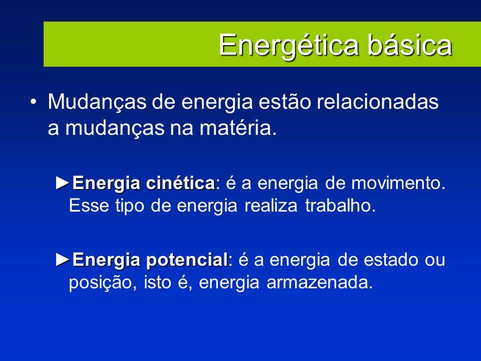 Energética básica Mudanças de energia estão relacionadas a mudanças na matéria.