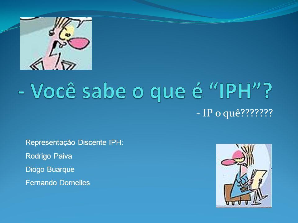 - Você sabe o que é IPH - IP o quê