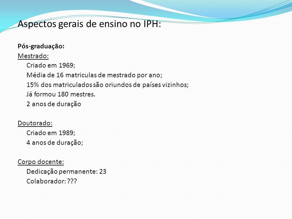 Aspectos gerais de ensino no IPH: