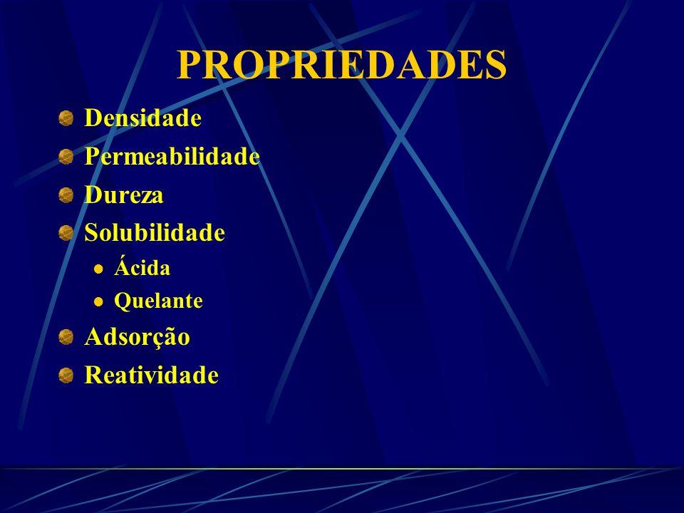 PROPRIEDADES Densidade Permeabilidade Dureza Solubilidade Adsorção