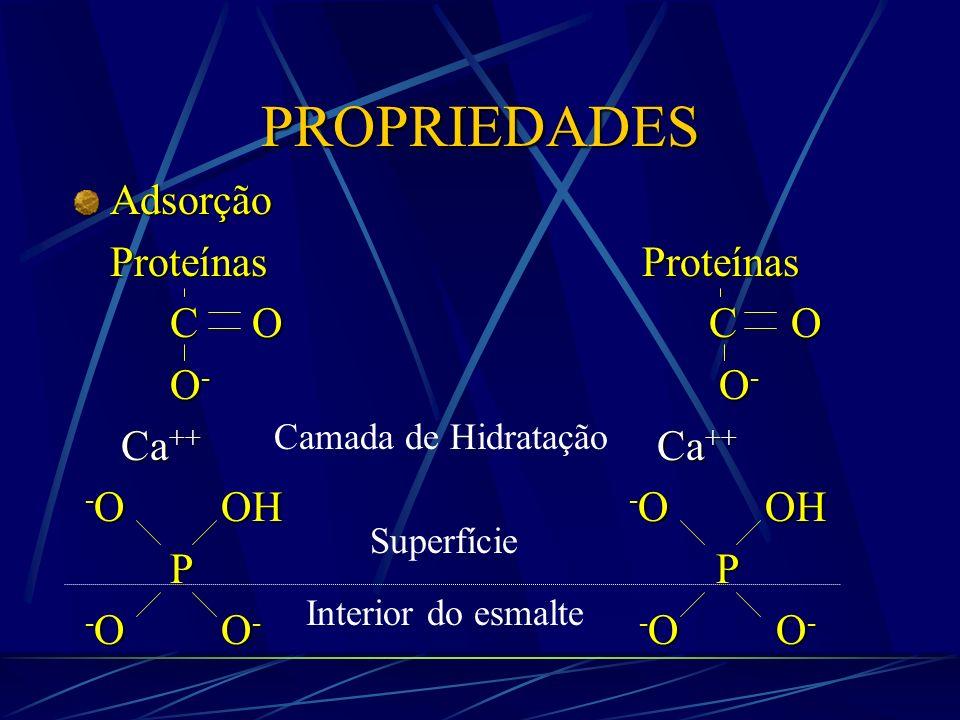 PROPRIEDADES Adsorção Proteínas Proteínas C O C O O- O- Ca++ Ca++