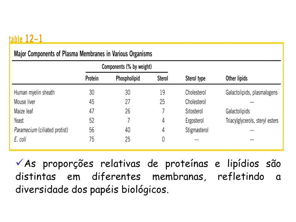 As proporções relativas de proteínas e lipídios são distintas em diferentes membranas, refletindo a diversidade dos papéis biológicos.