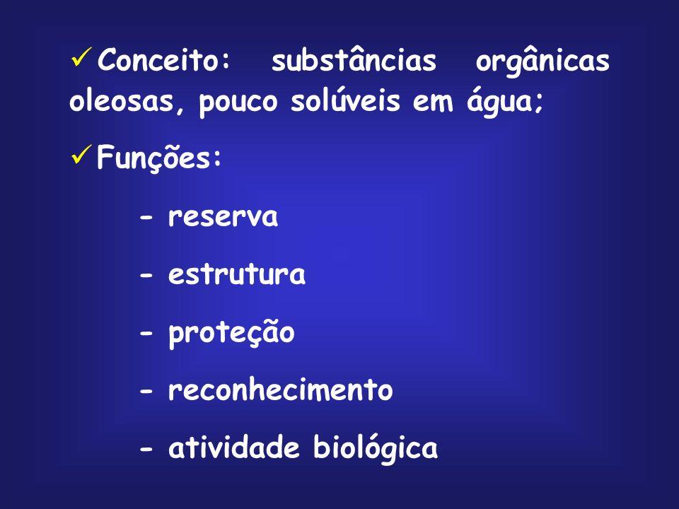 Conceito: substâncias orgânicas oleosas, pouco solúveis em água;
