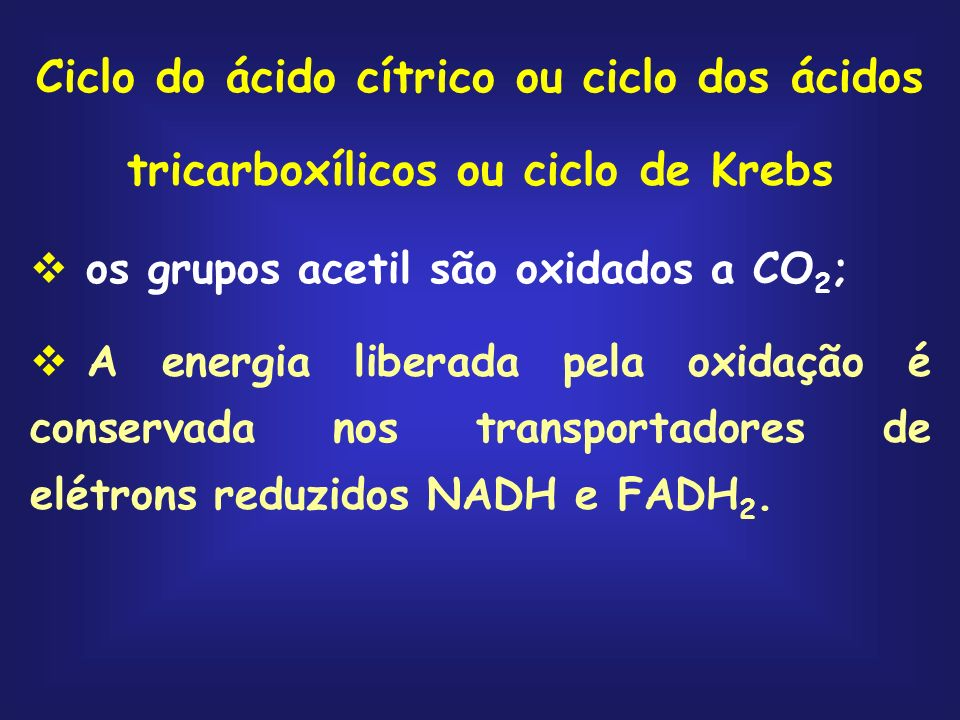 Ciclo do ácido cítrico ou ciclo dos ácidos tricarboxílicos ou ciclo de Krebs