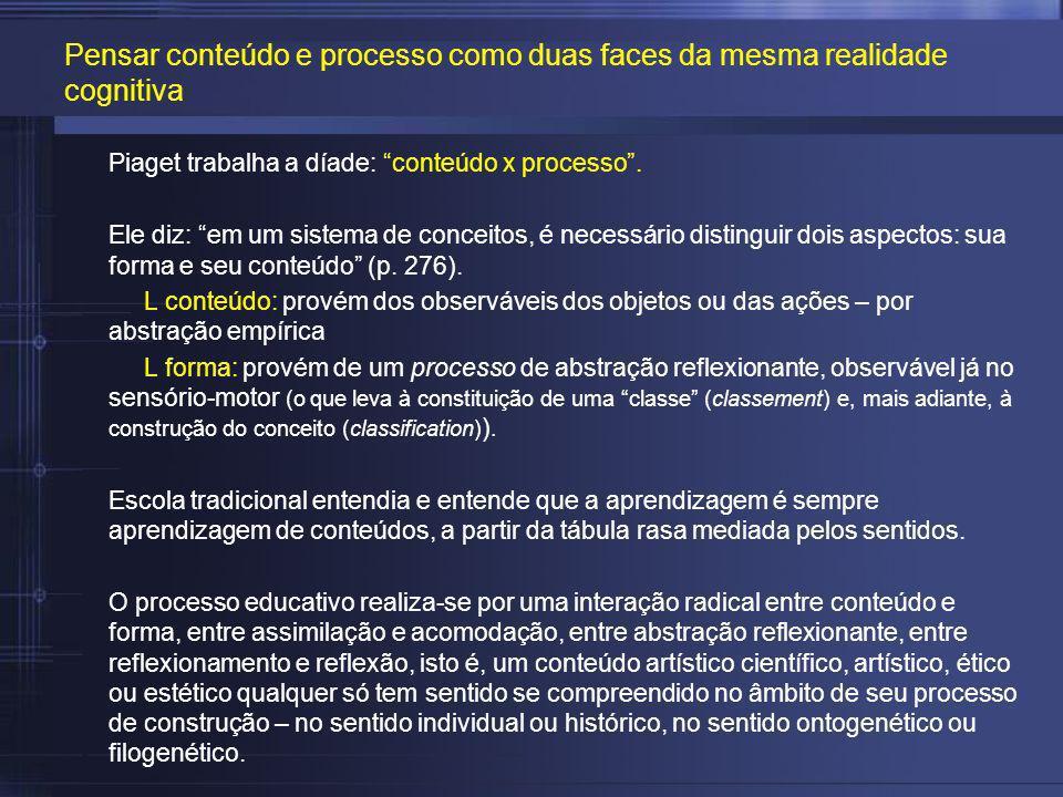 Pensar conteúdo e processo como duas faces da mesma realidade cognitiva