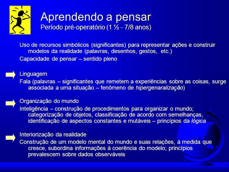 Aprendendo a pensar Período pré-operatório (1 ½ - 7/8 anos)