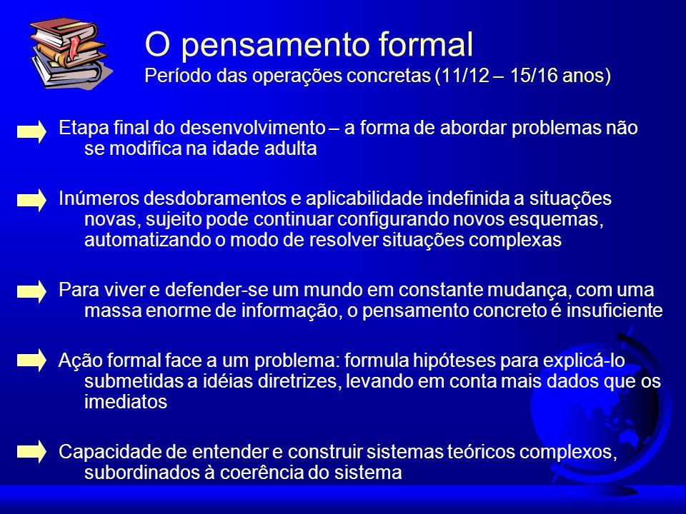 O pensamento formal Período das operações concretas (11/12 – 15/16 anos)