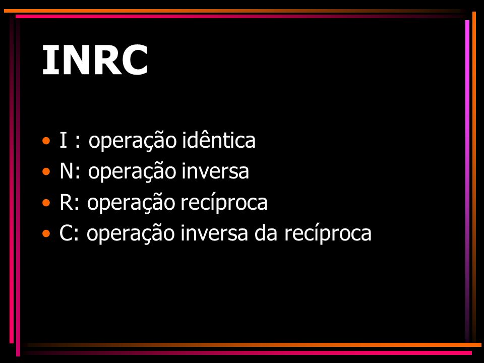 INRC I : operação idêntica N: operação inversa R: operação recíproca