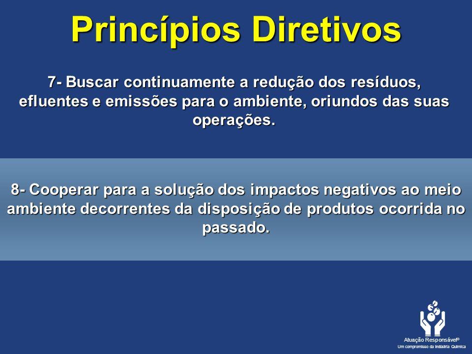 Princípios Diretivos 7- Buscar continuamente a redução dos resíduos, efluentes e emissões para o ambiente, oriundos das suas operações.
