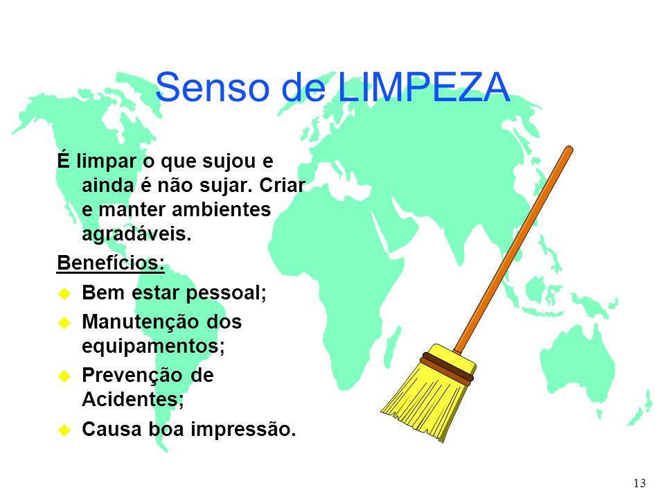 Senso de LIMPEZA É limpar o que sujou e ainda é não sujar. Criar e manter ambientes agradáveis. Benefícios: