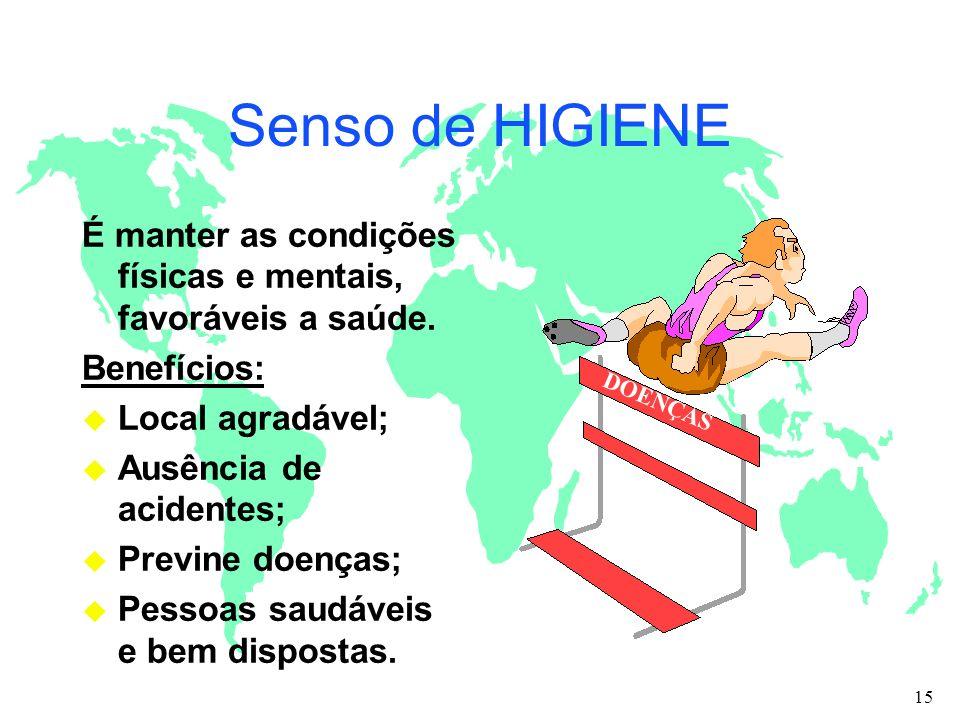 Senso de HIGIENE É manter as condições físicas e mentais, favoráveis a saúde. Benefícios: Local agradável;