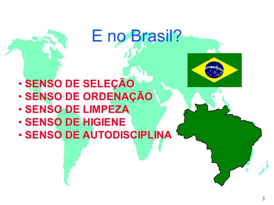 E no Brasil SENSO DE SELEÇÃO SENSO DE ORDENAÇÃO SENSO DE LIMPEZA