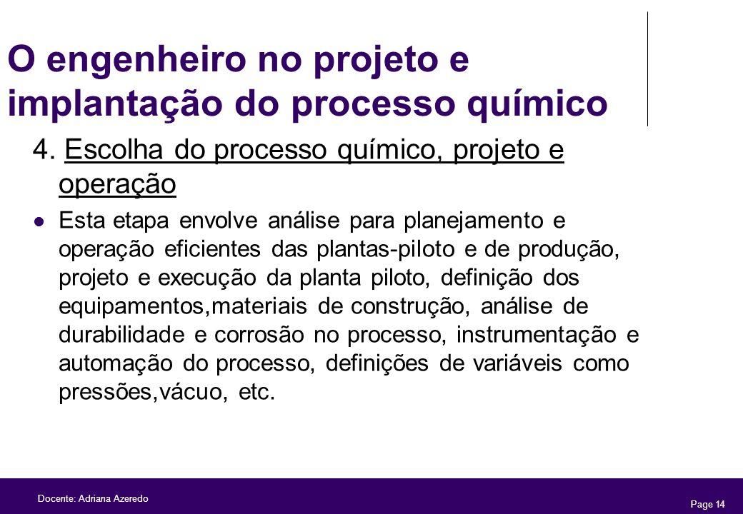O engenheiro no projeto e implantação do processo químico