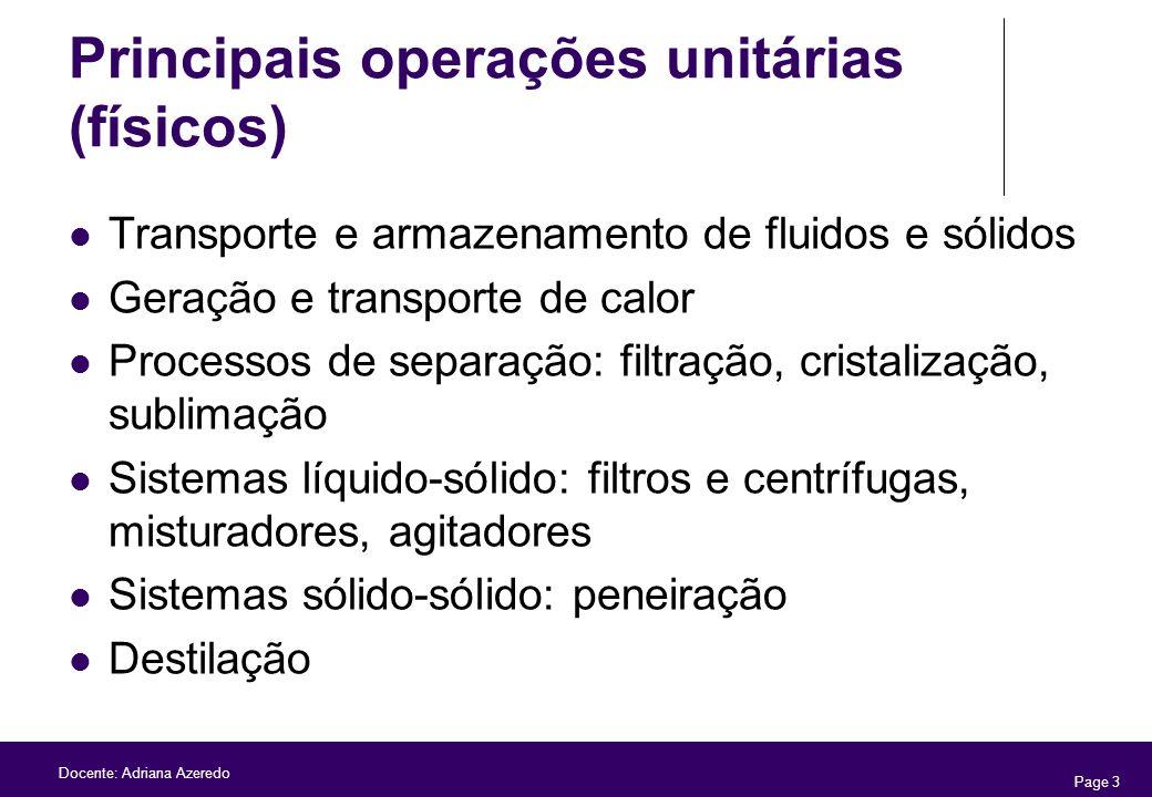 Principais operações unitárias (físicos)
