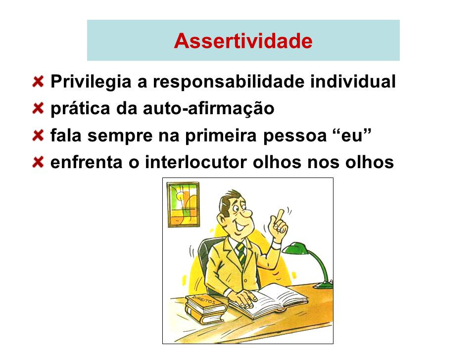 Assertividade Privilegia a responsabilidade individual