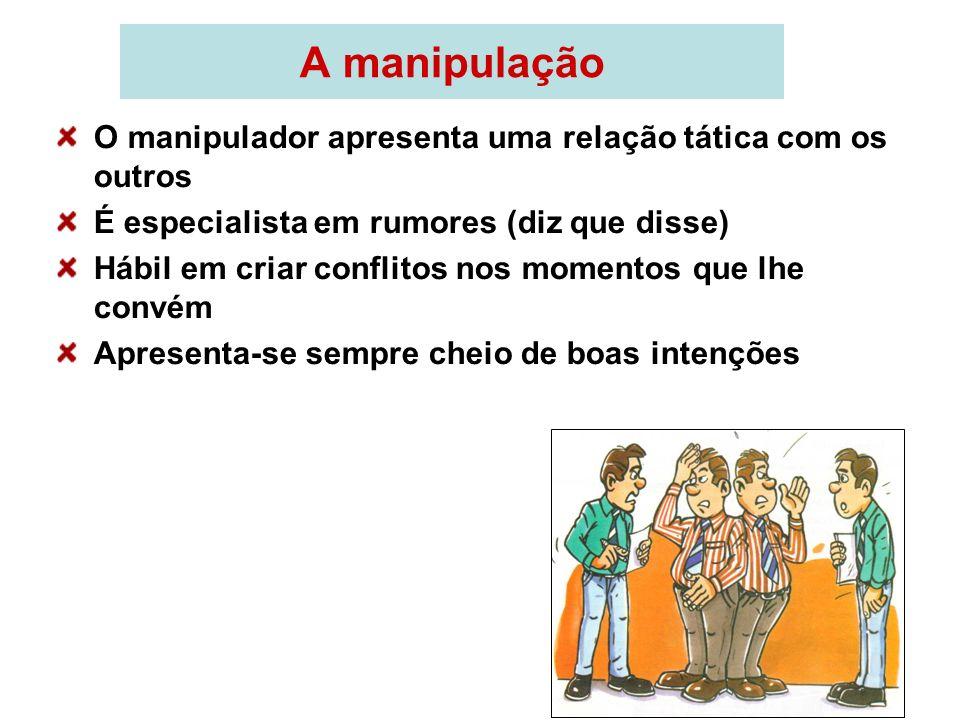 A manipulação O manipulador apresenta uma relação tática com os outros