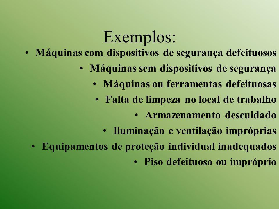 Exemplos: Máquinas com dispositivos de segurança defeituosos