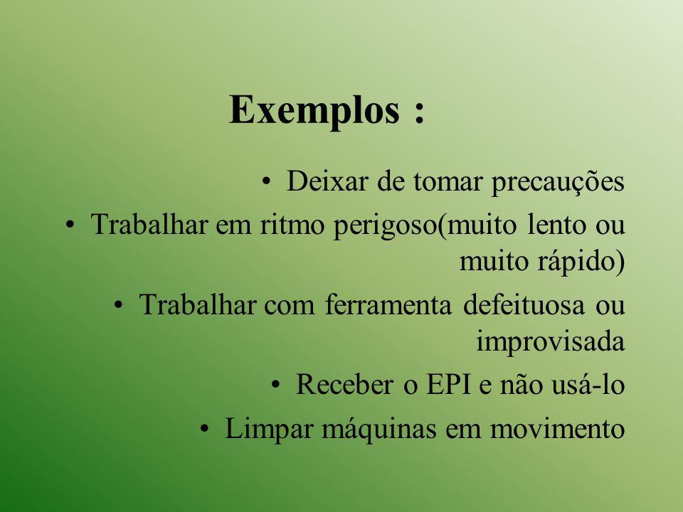 Exemplos : Deixar de tomar precauções