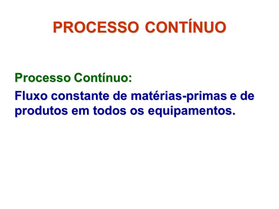 PROCESSO CONTÍNUO Processo Contínuo: