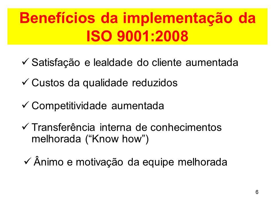 Benefícios da implementação da ISO 9001:2008