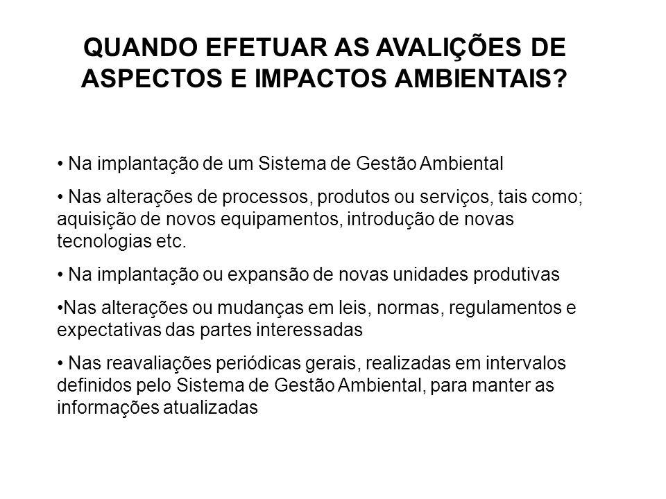 QUANDO EFETUAR AS AVALIÇÕES DE ASPECTOS E IMPACTOS AMBIENTAIS