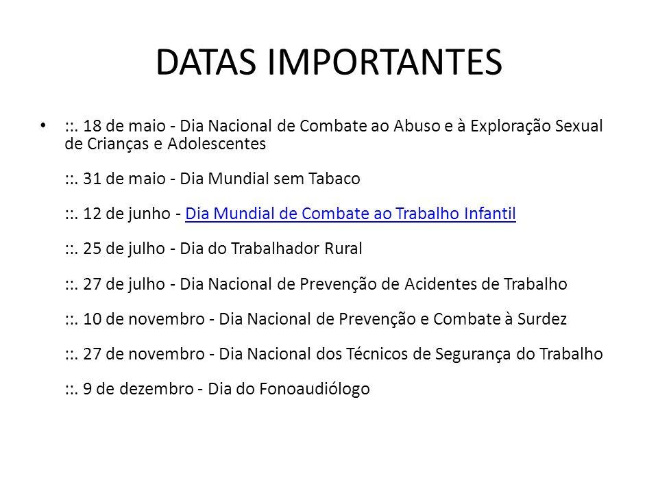 DATAS IMPORTANTES