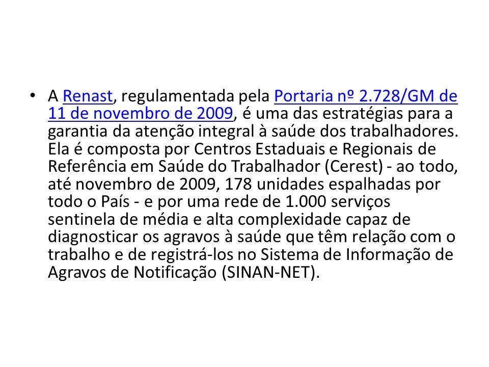 A Renast, regulamentada pela Portaria nº 2