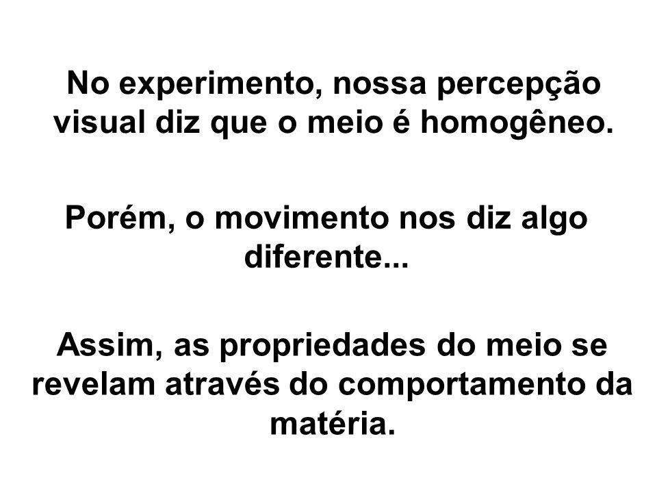 No experimento, nossa percepção visual diz que o meio é homogêneo.