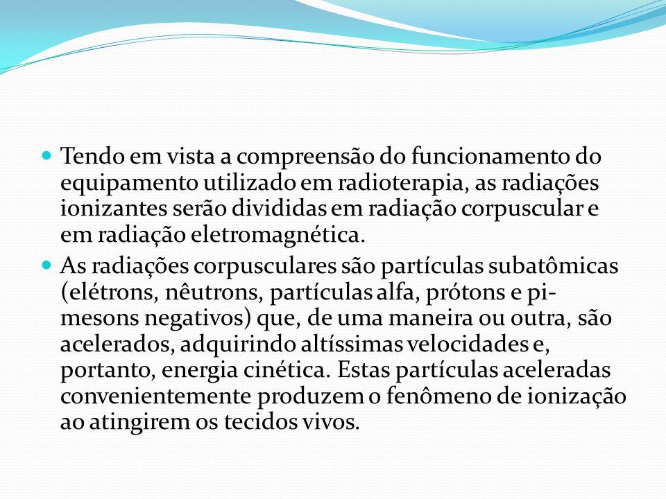 Tendo em vista a compreensão do funcionamento do equipamento utilizado em radioterapia, as radiações ionizantes serão divididas em radiação corpuscular e em radiação eletromagnética.