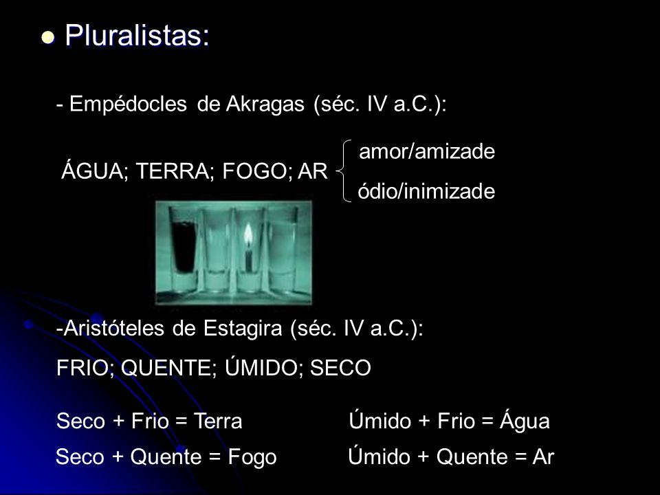 Pluralistas: - Empédocles de Akragas (séc. IV a.C.): amor/amizade