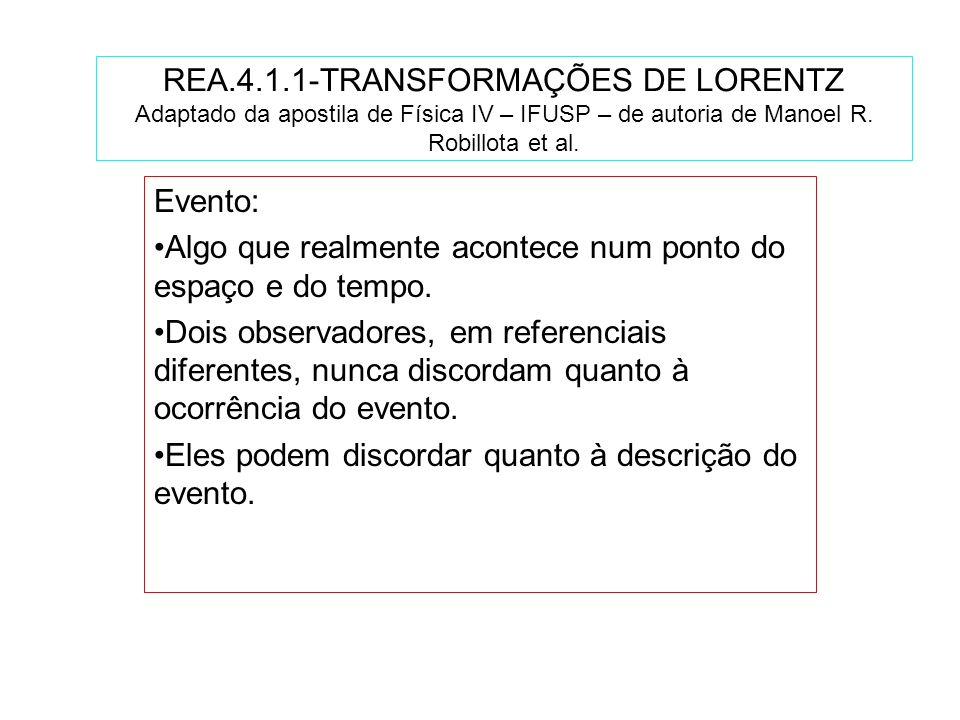 REA.4.1.1-TRANSFORMAÇÕES DE LORENTZ Adaptado da apostila de Física IV – IFUSP – de autoria de Manoel R. Robillota et al.