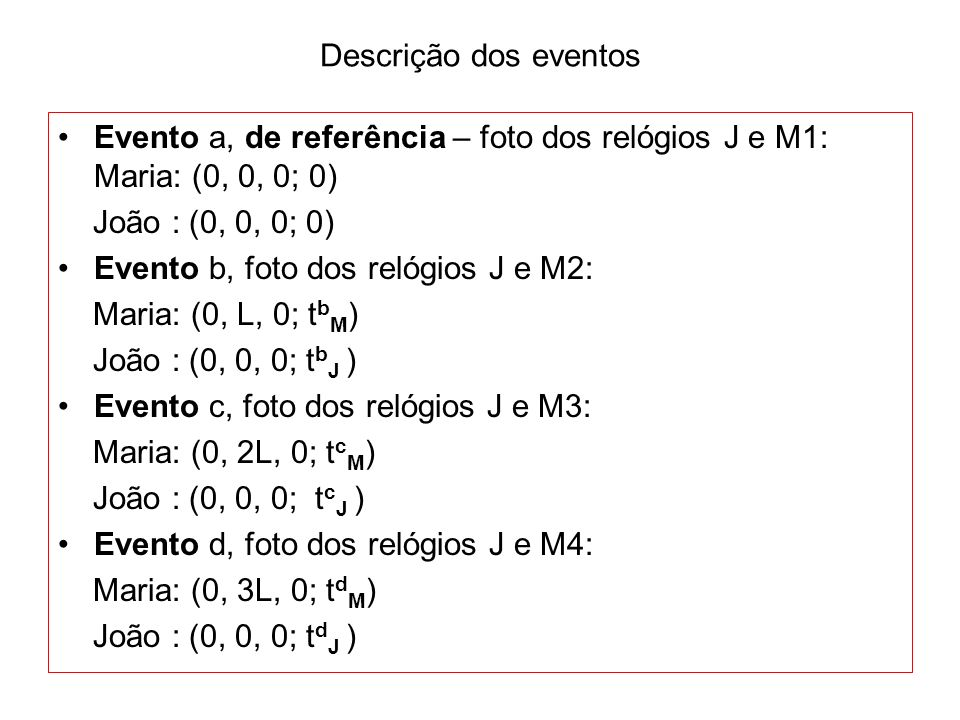 Descrição dos eventos Evento a, de referência – foto dos relógios J e M1: Maria: (0, 0, 0; 0) João : (0, 0, 0; 0)