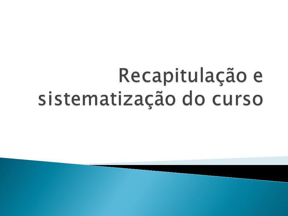 Recapitulação e sistematização do curso