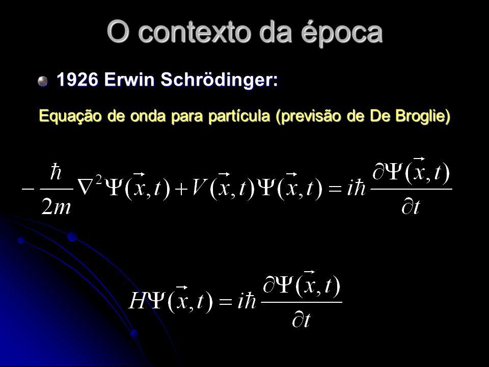 O contexto da época 1926 Erwin Schrödinger: