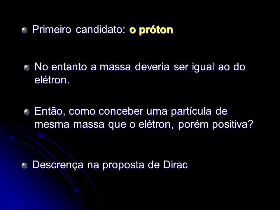 Primeiro candidato: o próton