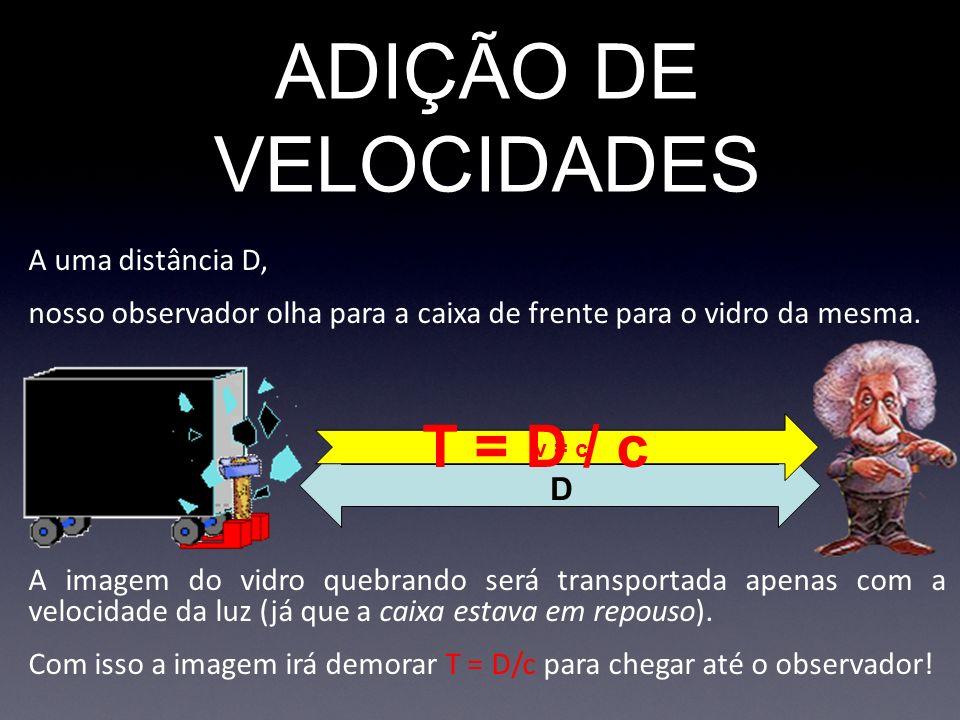 ADIÇÃO DE VELOCIDADES T = D / c A uma distância D,