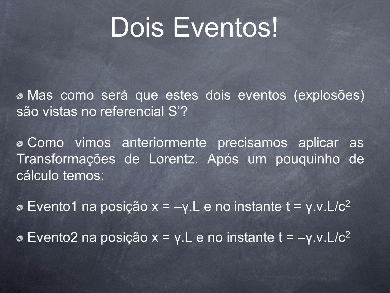 Dois Eventos! Mas como será que estes dois eventos (explosões) são vistas no referencial S'