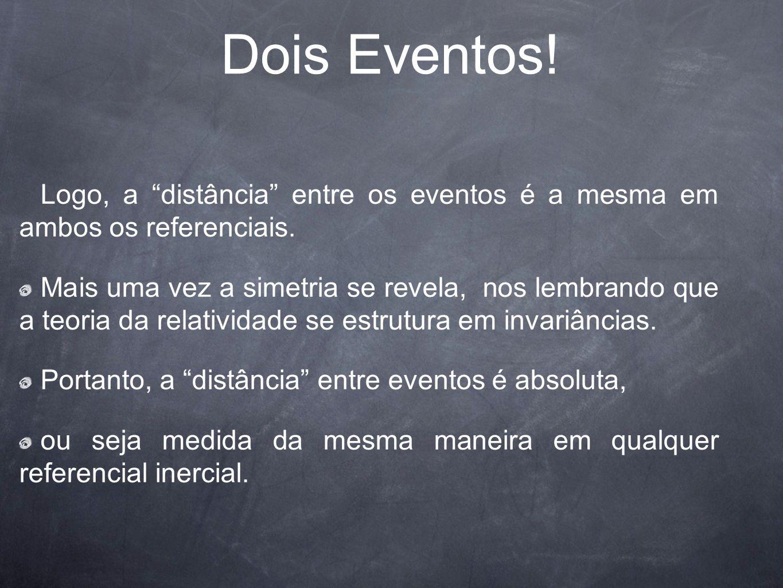 Dois Eventos! Logo, a distância entre os eventos é a mesma em ambos os referenciais.