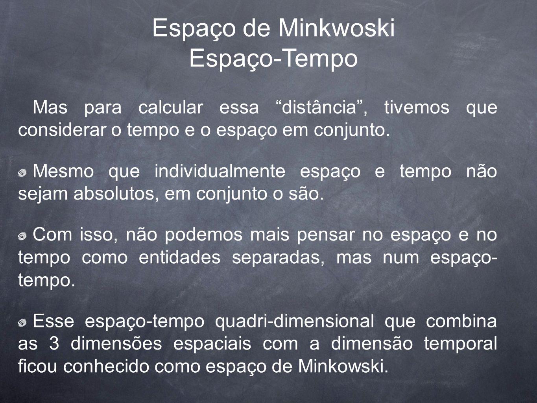 Espaço de Minkwoski Espaço-Tempo